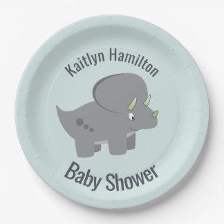 Assiettes En Papier Baby shower mignon du dinosaure   pour honorer la