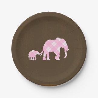 Assiettes En Papier Baby shower moderne à la mode de Brown d'éléphants