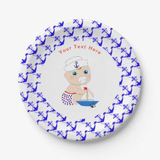 Assiettes En Papier Baby shower nautique de marin de bébé personnalisé