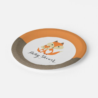Assiettes En Papier Baby shower orange de toile de jute de Fox