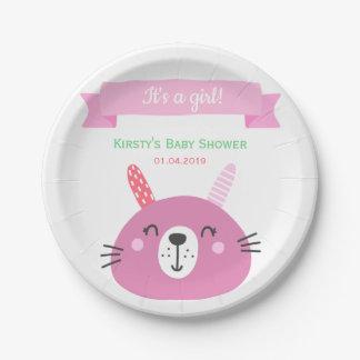Assiettes En Papier Baby shower rose mignon du lapin   de bébé