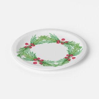 Assiettes En Papier Baies et feuille rouges de houx