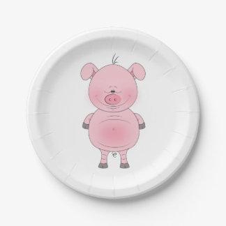 Assiettes En Papier Bande dessinée rose gaie de porc