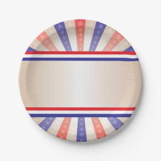 Assiettes En Papier Bannière patriotique de cru de plaque à papier