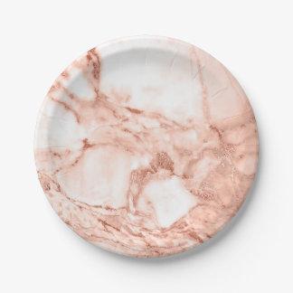 Assiettes En Papier Beau motif rose de marbre d'étincelle d'or