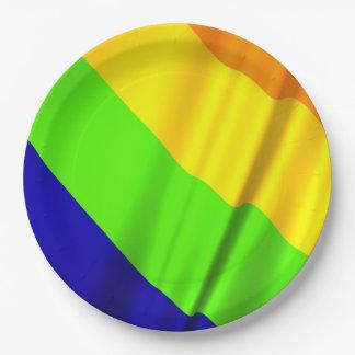 Assiettes En Papier beaucoup ont coloré le drapeau d'arc-en-ciel