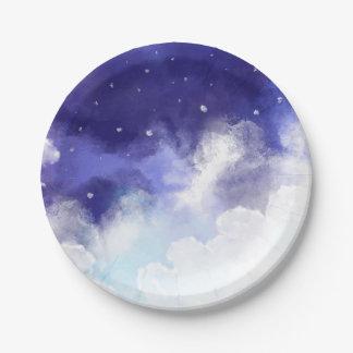 Assiettes En Papier Beaux-arts d'abrégé sur ciel nocturne d'aquarelle