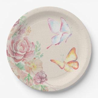 Assiettes En Papier Beaux fleurs et papillons d'aquarelle