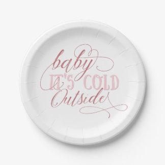Assiettes En Papier Bébé c'est plat rose extérieur froid de citation