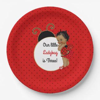 Assiettes En Papier Bébé d'Afro-américain de coccinelle rouge et noir