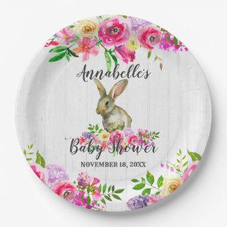 Assiettes En Papier Bébé floral Showe d'aquarelle de lapin de région