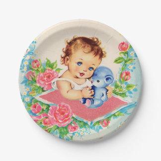 Assiettes En Papier Bébé vintage, plaques à papier de gâteau de baby