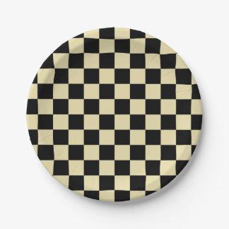 Assiettes En Papier Beige et noir Checkered
