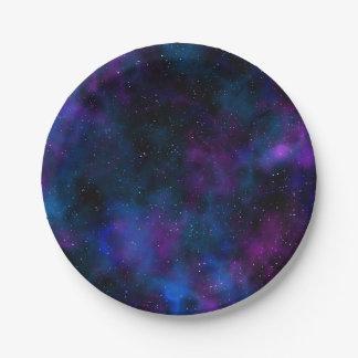 Assiettes En Papier Belle image de nuit étoilée de galaxie de l'espace
