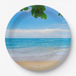 Assiettes En Papier Belle plage tropicale bleue