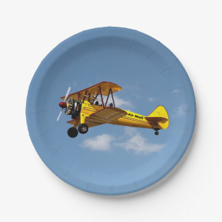 Assiettes En Papier Biplan de la poste aérienne