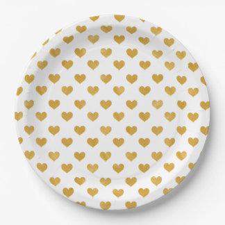 Assiettes En Papier Blanc de l'amour 2018 - coeur d'or