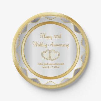 Assiettes En Papier Blanc et anniversaire de mariage d'or cinquantième