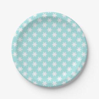 Assiettes En Papier bleu clair élégant de motif de flocons de neige de