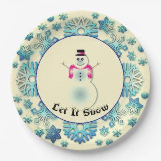 Assiettes En Papier Bleu de bonhomme de neige de flocon de neige