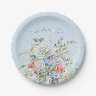 Assiettes En Papier Bleu en ivoire de bouquet de fleur d'aquarelle