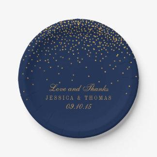 Assiettes En Papier Bleu marine et mariage fascinant de confettis d'or