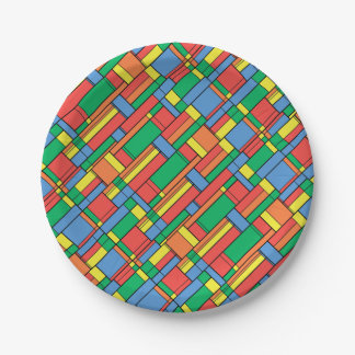 Assiettes En Papier Blocs de couleur