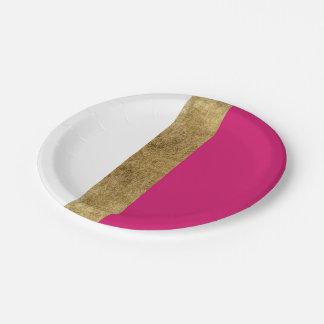 Assiettes En Papier Blocs roses et blancs d'or simple Girly de couleur