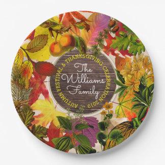 Assiettes En Papier Bois de cru de collage de feuille d'automne
