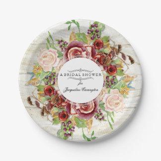Assiettes En Papier Bois floral d'aquarelle de douche de rose nuptiale