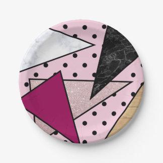 Assiettes En Papier Bois rose géométrique élégant de marbre de parties