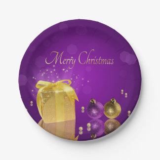 Assiettes En Papier Boîte-cadeau d'or de Noël - plaque à papier