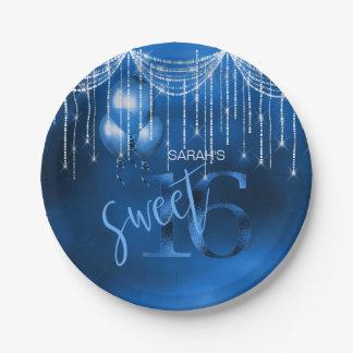 Assiettes En Papier Bonbon 16 DK ID473 bleu à lumières et à ballons de