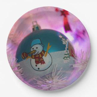 Assiettes En Papier Bonhomme de neige - boules de Noël - Joyeux Noël
