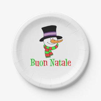 Assiettes En Papier Bonhomme de neige italien de Joyeux Noël de Buon