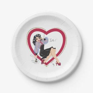 Assiettes En Papier Bonjour fille de Pin- de Valentine