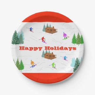 Assiettes En Papier Bonnes fêtes plaques à papier de cabine rouge de