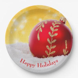 Assiettes En Papier Boule de Noël de neige de Bokeh de Noël