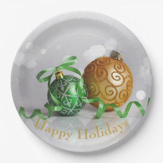 Assiettes En Papier Boules de Noël de Bokeh de Noël