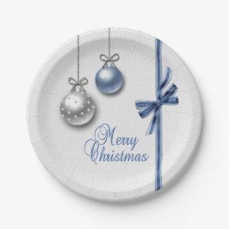 Assiettes En Papier Boules élégantes brillantes de Noël - plaque à