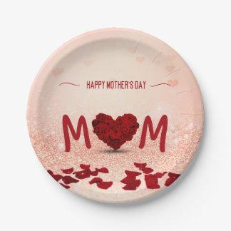 Assiettes En Papier Bouquet rose de coeur du jour de mère - plaque à