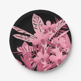 Assiettes En Papier Bouquet rose tropical