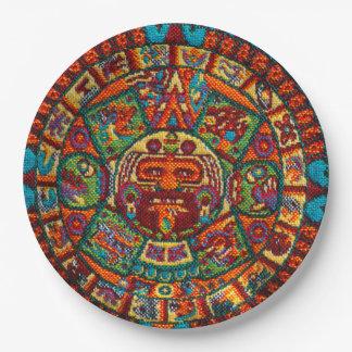 Assiettes En Papier Calendrier maya coloré