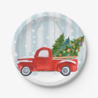 Assiettes En Papier Camion pick-up rouge de Noël sur une route de