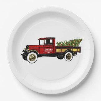 Assiettes En Papier Camion vintage votre ferme d'arbre de Noël