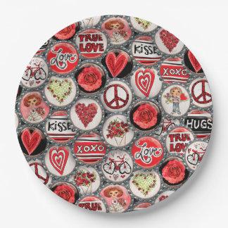 Assiettes En Papier Capsules de Saint-Valentin