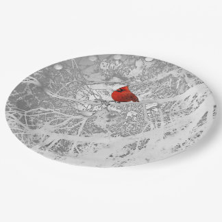 Assiettes En Papier Cardinal en hiver