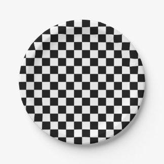 Assiettes En Papier Carrés Checkered noirs et blancs