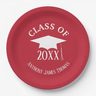 Assiettes En Papier Casquette rouge cardinal de diplômé et plaques à