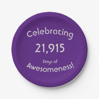Assiettes En Papier Célébration de 21.915 jours d'anniversaire